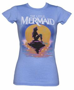 LIMITED EDITION Ladies Blue Disney Little Mermaid Sunset T Shirt from Junk Food