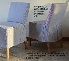 Easiest Parson Chair Slipcovers (wonder if this method would work with mine with the curved backs) Dorm Chairs, Living Room Chairs, Office Chairs, Lounge Chairs, Club Chairs, Dining Room, Dining Table, Parsons Chair Slipcovers, Parsons Chairs