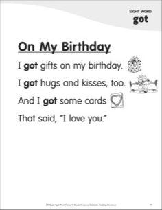 On My Birthday (Sight Word 'got'): Super Sight Words Poem