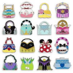 Bag your favorite Disney friends - reimagined as handbags - in this Mystery Pin Set. Each blind pack contains five randomly selected cloisonne pins from a possibility of 16 different designs. Disney Pins Sets, Disney Trading Pins, Disney Souvenirs, Disney Trips, Disney Magic, Walt Disney, Disney Parks, Disney Pin Collections, Disney Handbags