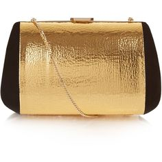 Nina Ricci Merion suede and leather clutch bag (57.545 RUB) ❤ liked on Polyvore featuring bags, handbags, clutches, purses, black gold, suede purse, metallic leather handbags, real leather purses, metallic clutches and party clutches