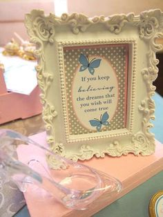 Scarlett-May's 3rd Cinderella Ball Birthday | CatchMyParty.com - Easy and cute! I have the frame.