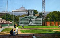 """""""Fickle Fate at Forbes"""" by Graig Kreindler (Pirates-Yankees 1960 World Series) Pittsburgh Pirates Baseball, Baseball Park, Pittsburgh Sports, Baseball Field, Baseball Stuff, Baseball Photos, 1960 World Series, Baseball Painting, Sports Stadium"""