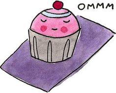 Cupcake in yoga meditating cartoon image via Namaste Cafe at www.Facebook.com/NamasteDharmaCafe