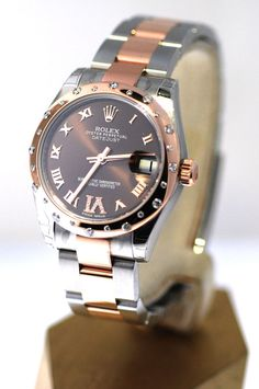 2012 Rolex Midsize Pink Gold & Steel NIB Oyster Band Chocolate Dial Unworn #Rolex #Dress