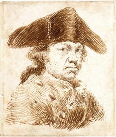 Francisco de Goya, Self-Portrait with Three-Cornered Hat, c. 1780-92. Pen and brown ink, with framing line in black chalk, on paper. Metropolitan Museum of Art, New York.