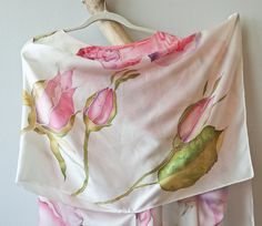 Hand Painted Silk Tunic Kimono Blouse Wild Rose One Size Fits All. $280.00, via Etsy. Kimono Blouse, Silk Tunic, Silk Shawl, Caftan Dress, Kaftan, Painted Silk, Hand Painted, Fabric Painting, Scarfs