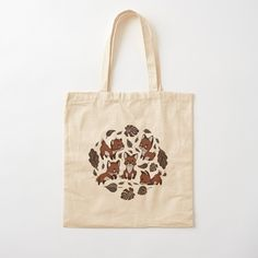 'Baby Foxes chasing Leaves - Cute pattern & design' Tote Bag by MonoMano Printed Tote Bags, Cotton Tote Bags, Reusable Tote Bags, Cute Pattern, Pattern Design, Baby Foxes, Unique Bags, Pouches, Shopping Bag