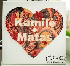 12x12in 30x30cm sized paper quilled name word by EchOchCrafts