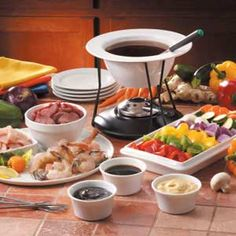 A fondue theme dinner party is easy to put together and something that will provide fun for all ages. Fondue comes from the French langu. Salsa Hoisin, Hoisin Sauce, Soy Sauce, Broth Fondue Recipes, Kabob Recipes, Thai Recipes, Beef Recipes, Recipies, Healthy Recipes