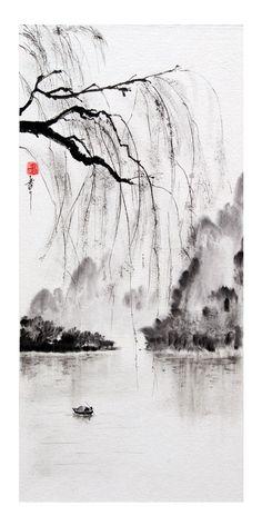 peinture zen ou sumi-e Jean-Marc Moschetti art zen Japanese Ink Painting, Sumi E Painting, Japanese Watercolor, Chinese Landscape Painting, Japanese Drawings, Japanese Artwork, Chinese Painting, Landscape Paintings, Art Paintings