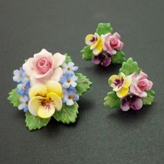 Signed Denton China Made in England Vintage Set Brooch Pin Earrings Flowers V33 | eBay