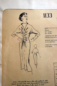 vintage Modes Royale sewing pattern 1133 draped dress size 14