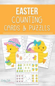Teach your child to count with these adorable Easter Counting Cards and Puzzles - no more boring questions and have fun with these puzzles. Easter Activities For Kids, Printable Activities For Kids, Preschool Printables, Math For Kids, Fun Math, Preschool Activities, Counting Activities, Preschool Learning, Free Printables
