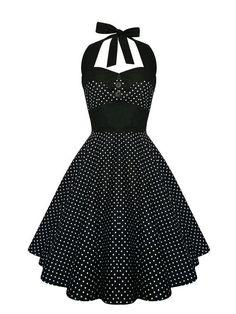 Rockabilly Dress Black Polka Dot Halter Pin Up Vintage 1950s