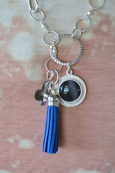 Silver Chain Assemblage Necklace with Deep Blue Glass Charm, by clayroadrepurposed. www.etsy.com/shop/clayroadcollectibles http://downaclayroad.blogspot.com