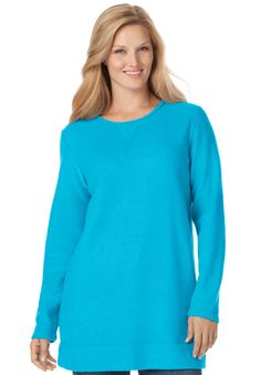 Top, sweatshirt in cozy, light sherpa fleece | Plus Size Tunics | Woman Within