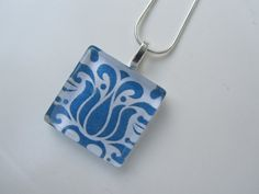 Blue White Damask Glass Pendant Necklace with Silver by DLRjewelry, $12.00