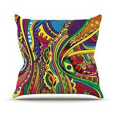 KESS InHouse RP1007AOP03 18 x 18-Inch 'Roberlan Doodle Rainbow Abstract' Outdoor Throw Cushion - Multi-Colour