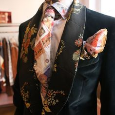 Our archive money print tie & handkerchief against tuxedo lapels inspired by Edwardian interiors. #MAN #AW1516 #VivienneWestwood #VWPressDay