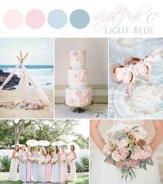 light pink and light blue inspiration board designed by sarah park events wedding themes, light blue wedding palette Beach Wedding Colors, Pink Wedding Theme, Beach Wedding Reception, Wedding Themes, Blue Wedding, Dream Wedding, Wedding Decorations, Wedding Day, Pale Pink Weddings