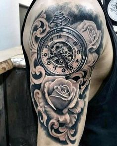 Rose Flower With Pocket Watch Filigree Half Sleeve Guys Tattos Pocket Watch Tattoos, Pocket Watch Tattoo Design, Pocket Watch Drawing, Tattoo Sleeve Designs, Tattoo Designs Men, Sleeve Tattoos, Time Tattoos, New Tattoos, Tattoos For Guys