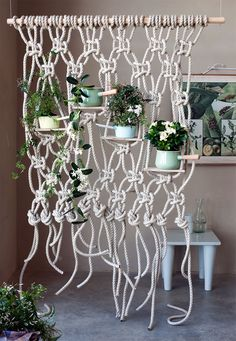 The artful macrame technique makes it possible to create original room dividers that give fragrant white flowering plants such as stephanotis and jasmine a hold on which they can climb and squirm with their pretty tendrils. Macrame Art, Macrame Projects, White Flowering Plants, Flower Plants, Home Remodel Costs, Perfect Plants, Bedroom Plants, Hanging Planters, Decoration