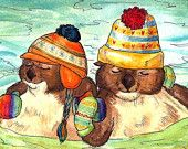 etsy otters with mittens