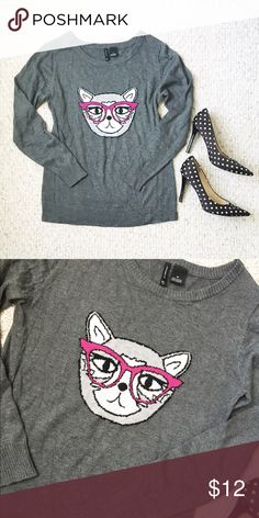Cat sweater This adorable and quirky cat sweater needs a new home!!! I've only worn in a handful of times so it's in great condition!  new directions Sweaters Crew & Scoop Necks