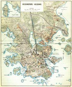 Helsinki 1897 Helsinki, Finland, Vintage World Maps