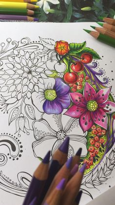 Secret Garden Coloring Book, Coloring Book Art, Adult Coloring, Colouring, Flower Drawings With Color, Colorful Drawings, Colored Pencil Tutorial, Colored Pencil Techniques, Pencil Colour Painting