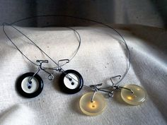 My 2 favorite things.....buttons and bicycles...Bicycle Necklaces