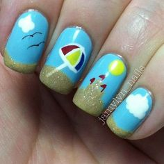 Beach Nail Art For Short Nails