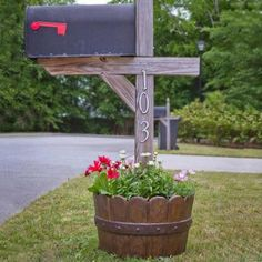 Whiskey Barrel planters are an innovative way to add a rustic twist to your yard decor. Try this Cast Stone Mailbox Planter to create the whiskey barrel look in your mailbox garden. Mailbox Planter, Mailbox Garden, Diy Mailbox, Mailbox Landscaping, Mailbox Ideas, Landscaping Ideas, Mailbox Post, Country Mailbox, Mulch Landscaping