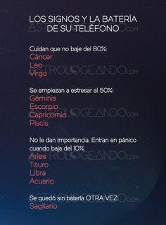 Los signos y la batería de su teléfono #Astrología #Zodiaco #Astrologeando