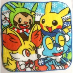 Pokemon Center 2013 Christmas Fennekin Froakie Chespin Pikachu Mini Hand Towel