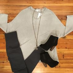 "NEW ARRIVAL  ""Up A Notch Gray Top"" styled with our high waisted charcoal fleece leggings! DATE NIGHT READY!! #datenight #fleeceleggings #lorelaisstyle #uptowncolumbusgeorgia #boutiquesonbroadway #shoplocal #shopsonbroadway #"