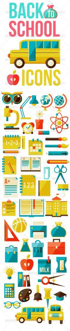 Set of Flat School Icons  #graphicriver