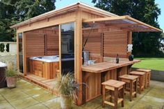 Hot tub gazebo - Would it look right to put an outdoor kitchen under screened pool Hot Tub Gazebo, Hot Tub Backyard, Backyard Patio, Backyard Landscaping, Patio Bar, Backyard Seating, Backyard Ideas, Patio Ideas, Hot Tub Garden