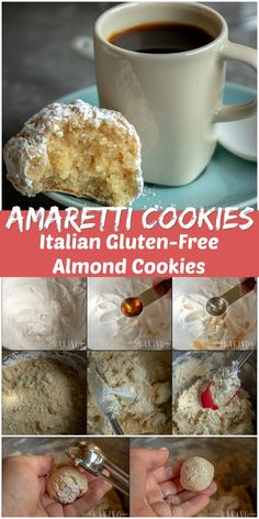 Amaretti Cookies are small gluten and dairy-free confections that are made with egg whites, almond flour, sugar and almond extract. Gluten Free Almond Cookies, Almond Flour Cookies, Dairy Free Cookies, Keto Cookies, Sugar Cookies Recipe, Gluten Free Desserts, Yummy Cookies, Fun Desserts, Cookies Et Biscuits