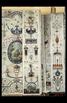 François-Joseph Bélanger ,Exceptionnel ensemble de papiers peints marouflés sur toile, fin époque Louis XVI