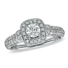 Brides.com: 64 Engagement Rings Under $5,000. Item #18628248, Vera Wang LOVE 3/4 CT. T.W. Diamond Frame Engagement Ring in 14K White Gold, $1,999.99, Zales  See more cushion-cut engagement rings.