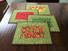 Four Handmade Vegetable Quilted Patchwork Table Placemats, Home Decor, 4 Red Green Place Mats. Table Topper. Christmas Gift. by PetrinaRigbyQuilting on Etsy