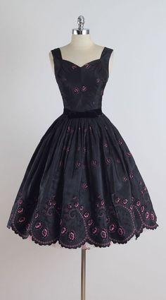 Vintage 1950s Black and Pink Flocked Cocktail Dress