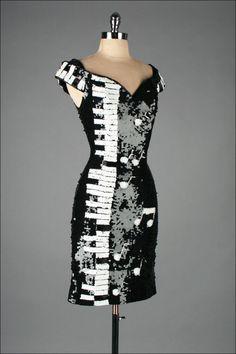 Vintage 1980s Black White Piano Keys Sequins Mini Dress