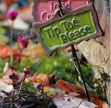 "Painted Clay Miniature ""Tip Toe Please"" Fairy Garden Sign"