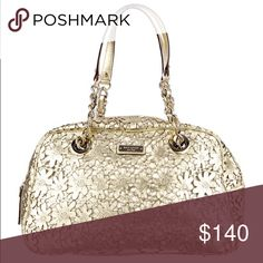 Kate Spade Cut out Gold Floral Handle Bag Metallic gold Kate Spade leather handle bag with cutout floral design, full zip around closure and multiple interior pockets. kate spade Bags