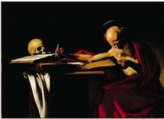 St Jerome, Oil by Caravaggio (Michelangelo Merisi) Italy)Saint Jerome Writing, also called Saint Jerome in His Study or simply Saint Jerome, is an oil painting by Italian painter Caravaggio St Jerome, Chiaroscuro, Baroque Painting, Baroque Art, Italian Baroque, Italian Painters, Italian Artist, Chef D Oeuvre, Oeuvre D'art