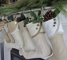 Christmas stockings---love the buttons