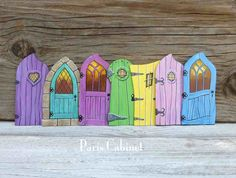 Seven Fairy Doors Miniature Tooth Fairy Door Art Acrylic Paintings on Wood Set 1 Orchid Turquoise Magenta Lime Green Yellow Pink Blue